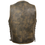 Men's Distressed Brown 10 Pocket Vest MLM3540