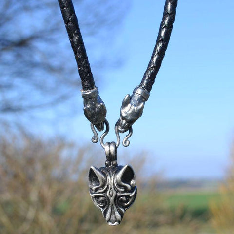 Viking Wolf Necklace - Tin and Braided Leather Cord