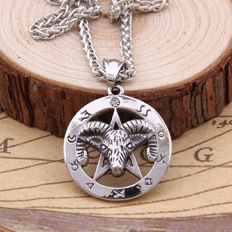Runic Ram Pentacle Pendant Necklace