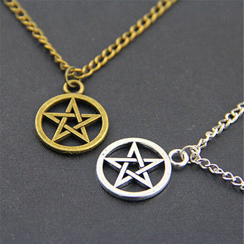 Silver & Bronze Pentacle Pendant Necklace Set