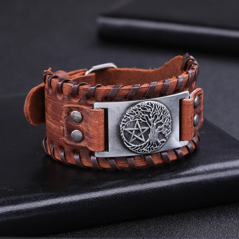 Yggdrasil Pentacle Stitched Leather Bracelet