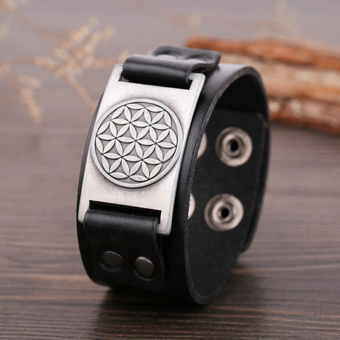 Flower of Life Leather Bracelet