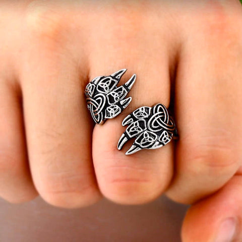 Norse Wolf Paw Ring