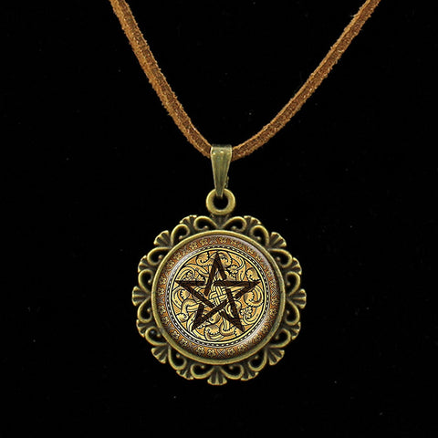 Brown Pentacle Glass Dome Pendant with Brown Leather Necklace