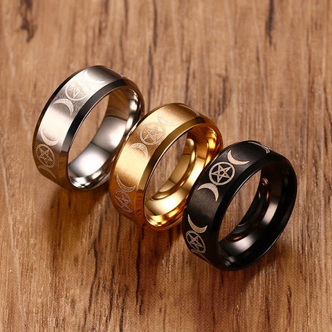 Triple Moon Pentacle Stainless Steel Ring