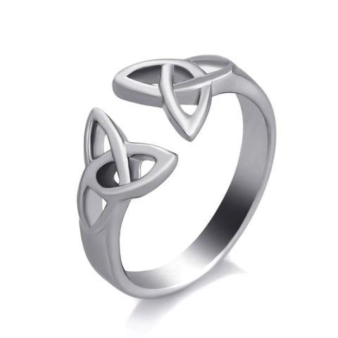 Double Triquetra Open Ring