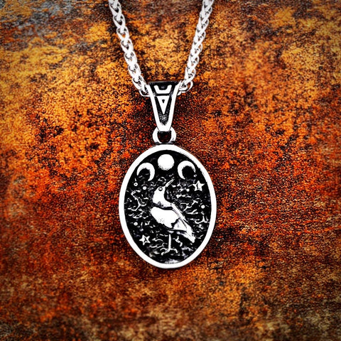 Raven Moon Pendant Necklace