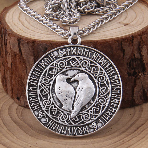 Huginn and Muninn, Norse Ravens Medallion Pendant Necklace