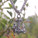 Raven & Wolf Mjolnir - Stainless Steel Pendant Necklace