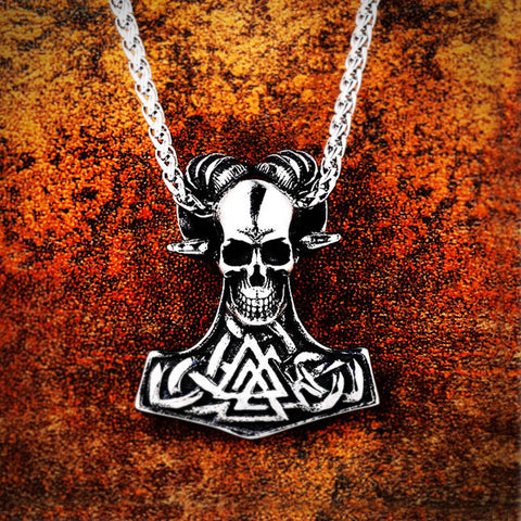 Horned Skull Valknut Mjolnir Pendant Necklace