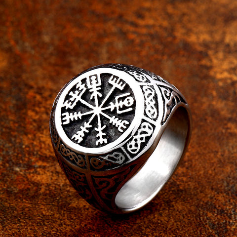 Vegvisir Ring with Norse Motifs