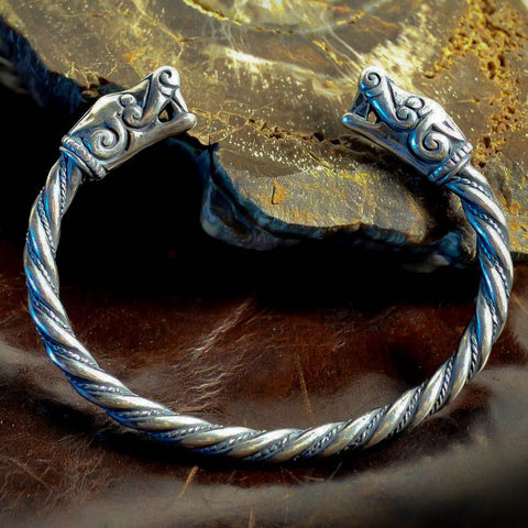Viking Wolves Bangle - Sterling Silver