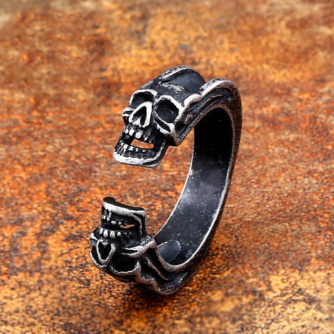 Double Skull Distressed Ring