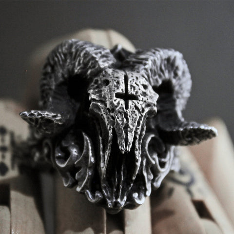 Ram Skull with Inverted Cross - Stainless Steel Ring
