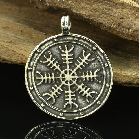 Aegishjalmur (Helm of Awe) Medallion Pendant - Sterling Silver