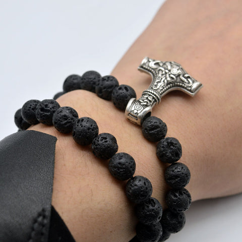 Lava Beads Stretchy Bracelet with Mjolnir