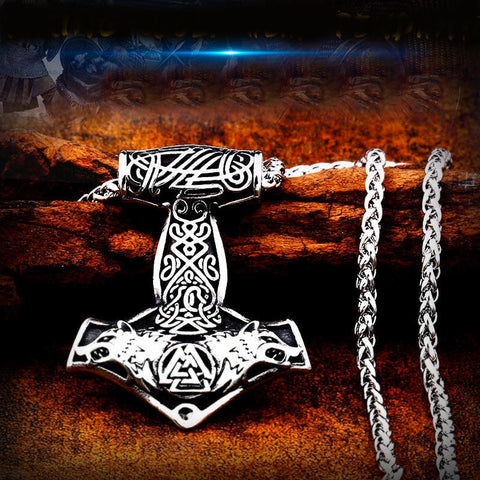 Viking Wolves Mjolnir Pendant Necklace