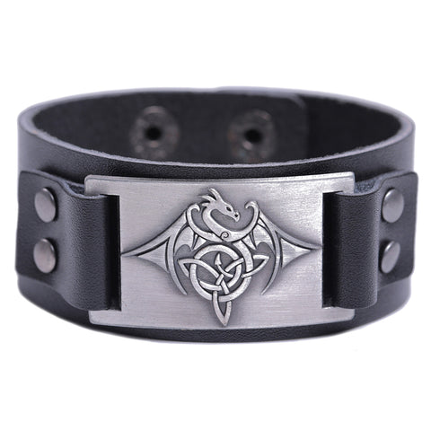 Dragon Triquetra Leather Bracelet