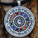 Zodiac Wheel Pewter Pendant Necklace