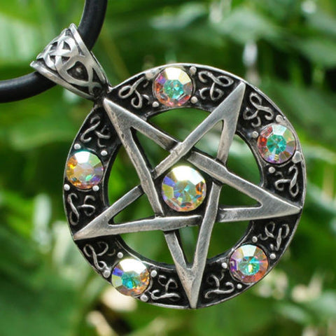 Aurora Borealis Crystal Magick Pentacle Pendant Necklace