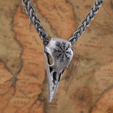 The Helm of Awe Raven Skull Pendant Necklace