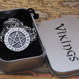 Pentacle with Runes - Stainless Steel Pendant Necklace