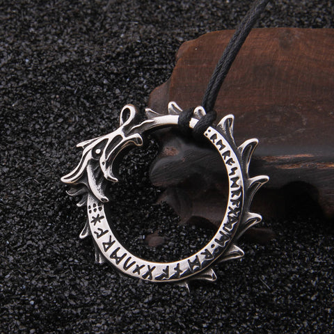 Jörmungandr, Norse Sea Serpent Ouroboros Pendant Necklace