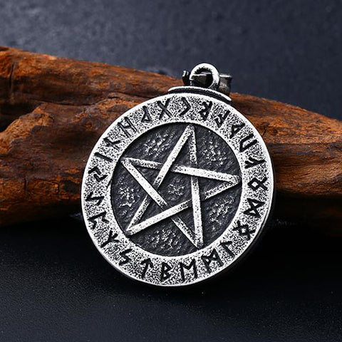 Runic Pentacle Pendant Necklace