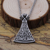 Viking Axe Head in Mammen Style - Stainless Steel Pendant Necklace