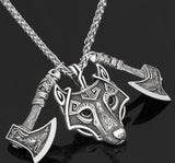Norse Wolf & Axes Pendants Necklace
