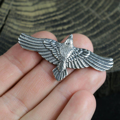 Flying Raven Pendant - Sterling Silver