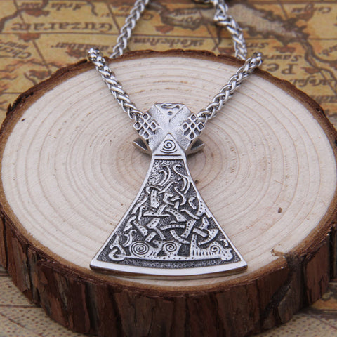 Viking axe head in mammen style stainless steel pendant necklace viking axe head in mammen style stainless steel pendant necklace mozeypictures Choice Image