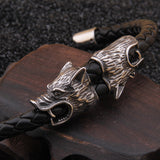 Fenrir Viking Wolf Braided Leather Bracelet