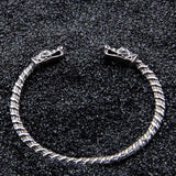 Norse Wolf Heads Stainless Steel Bangle