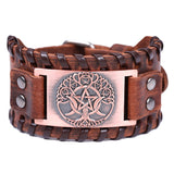Tree of Life Pentacle Moon Stitched Leather Bracelet