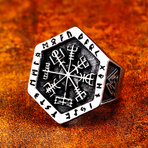 Hexagon Vegvisir Ring
