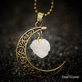 Crescent Moon Stone Pendant Necklace