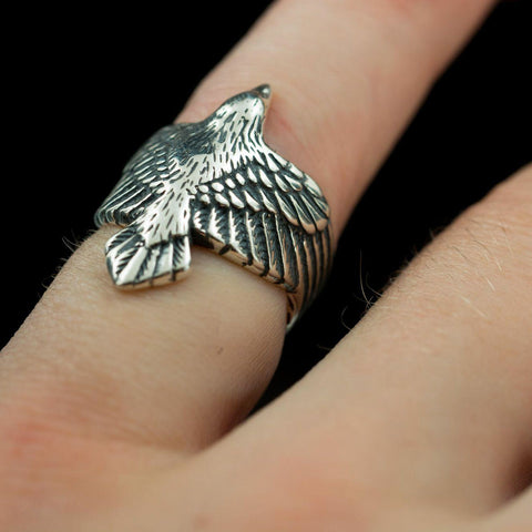 Flying Raven Ring - Sterling Silver