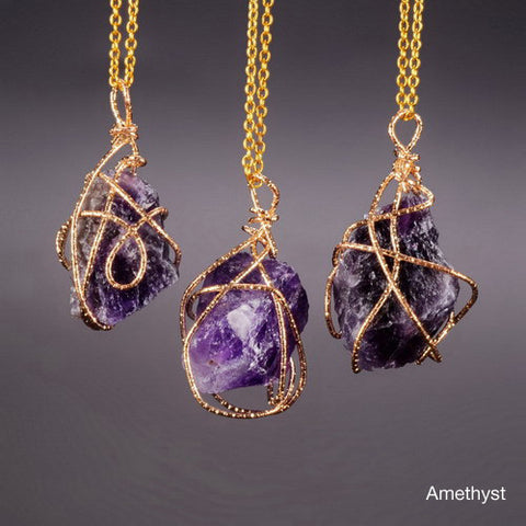 Irregular Cut Amethyst Pendant Necklace