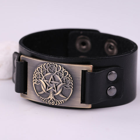 Tree of Life Pentacle Moon Leather Bracelet