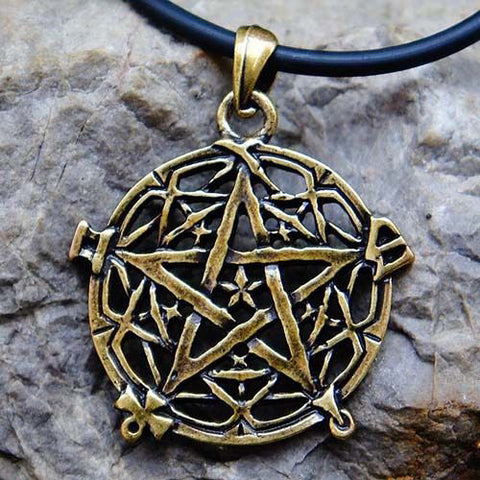 Brass Plated Celtic Knotwork Pentacle Pendant Necklace