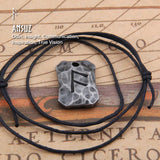 Rune on Hammered Metal Pendant Necklace