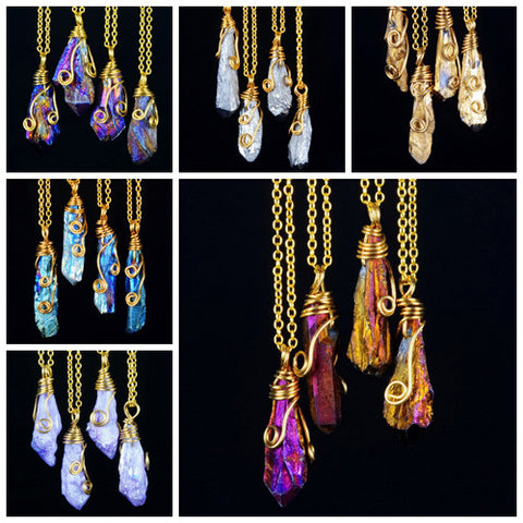 6-Piece Magical Color Crystal Pendant Necklace Set