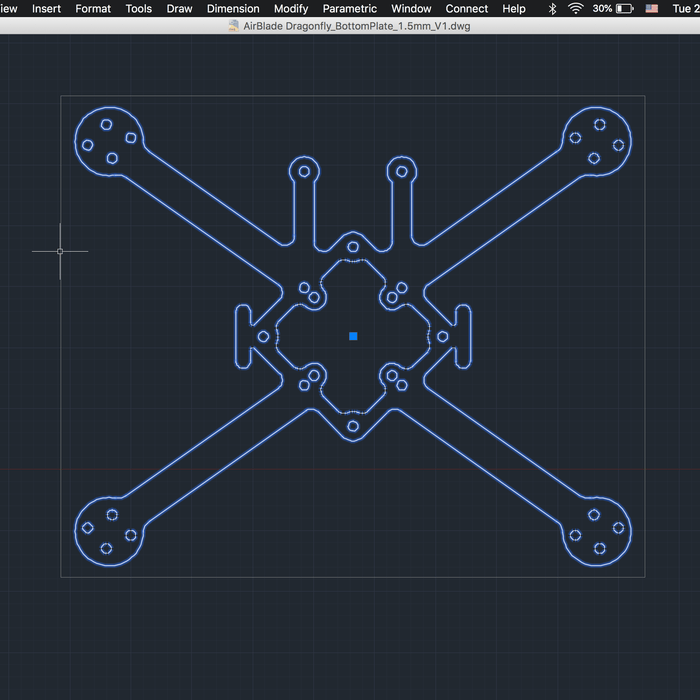 How to design a quadcopter frame in AutoCAD