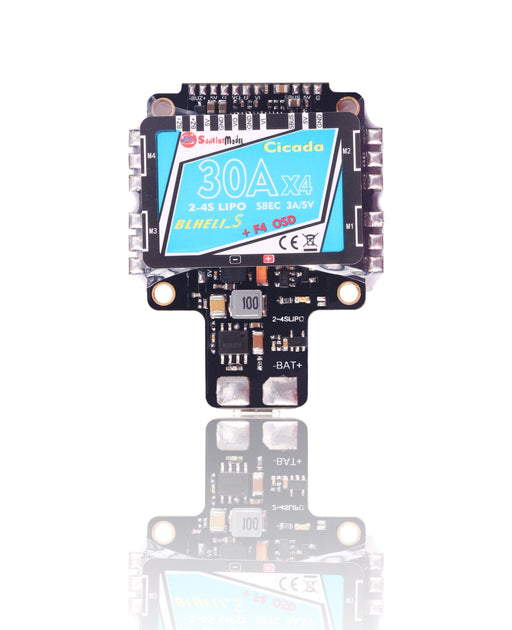 Cicada AIO F4 Flight Controller with 4-in-1 30A BLHeli_S ESC BB2 + OSD + 5V BEC Sunrise