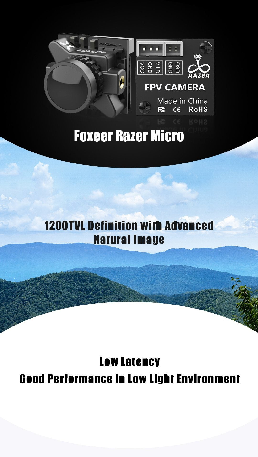 Foxeer Micro Razer 1.8mm Low Latency FPV Camera Foxeer