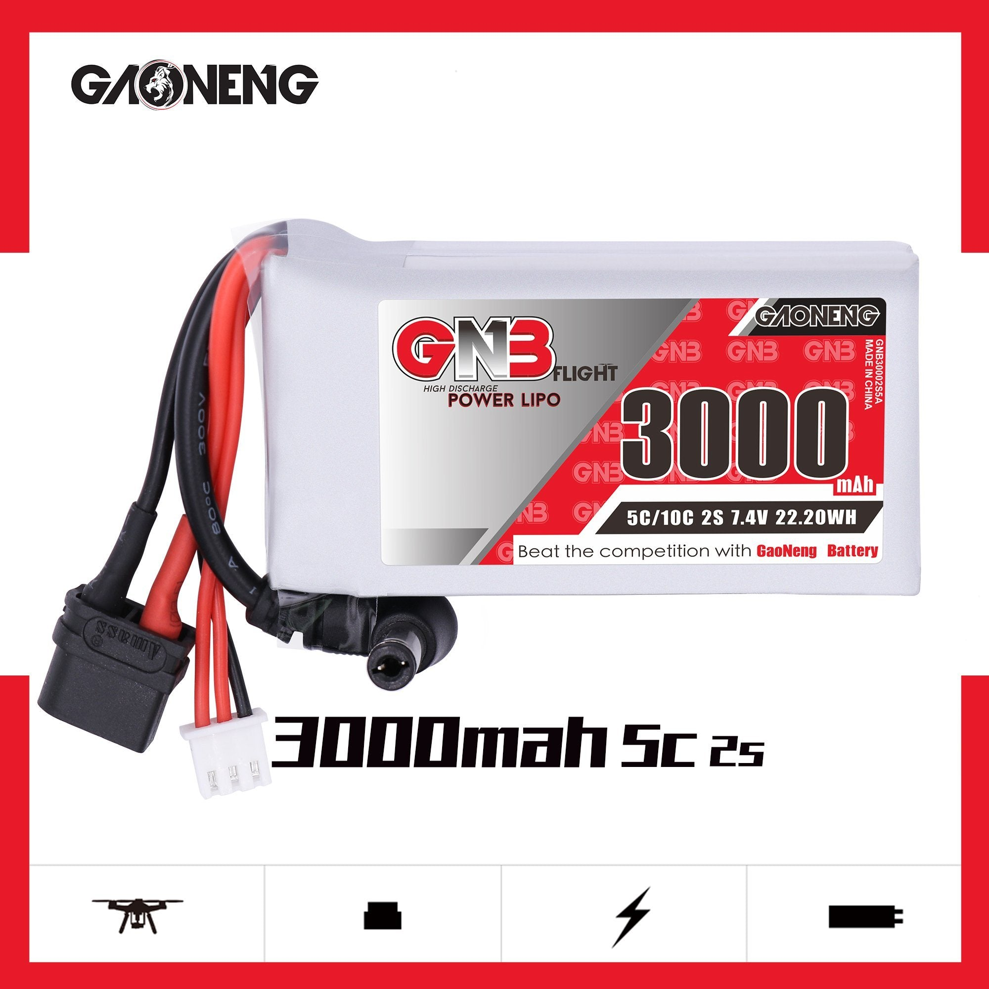 GNB 3000 mAh 2S 7.4V XT60 DC Connector for DJI Goggles GNB