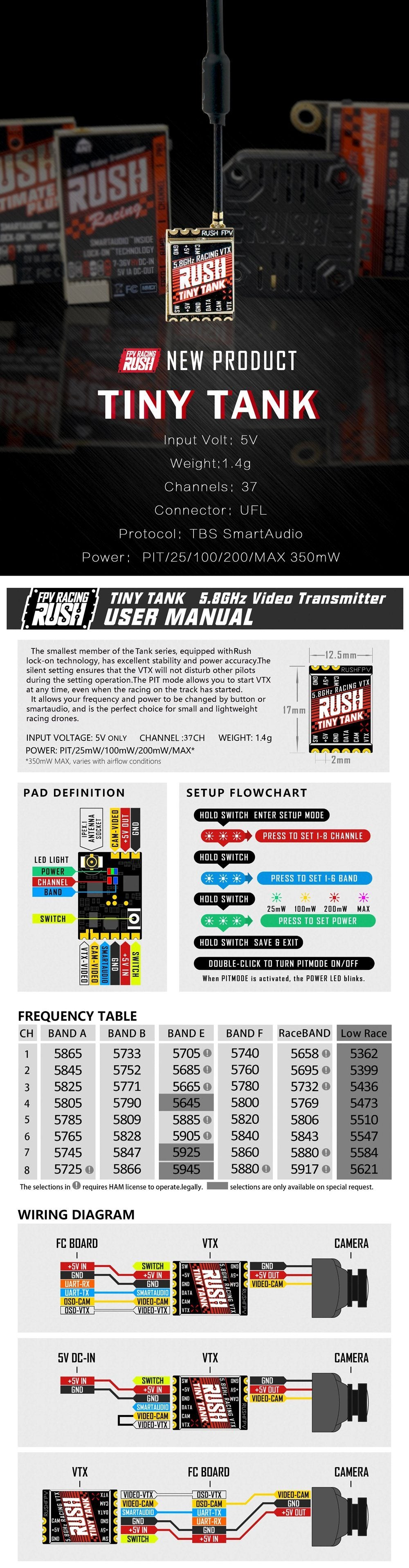 RushFPV Rush Tank Tiny 5.8Ghz Video Transmitter VTX RushFPV
