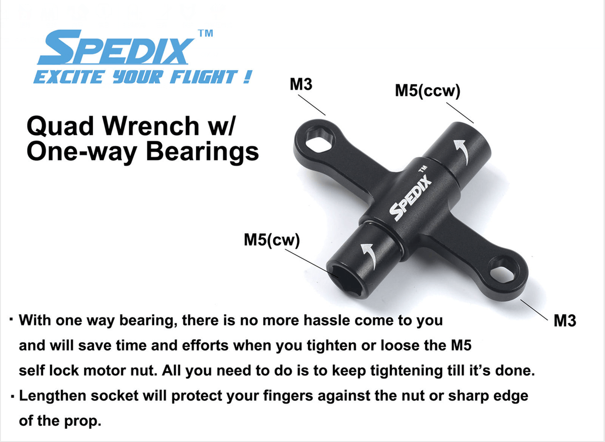 Spedix Quad Wrench with Built-in One Way Bearing Spedix