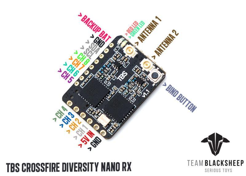 Team BlackSheep TBS Crossfire Diversity Nano Receiver Team Black Sheep